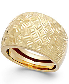 Italian Gold Woven Dome Ring in 14k Gold