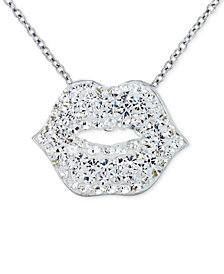 SIS by Simone I. Smith Clear Crystal Lips Pendant Necklace in Platinum over Sterling Silver