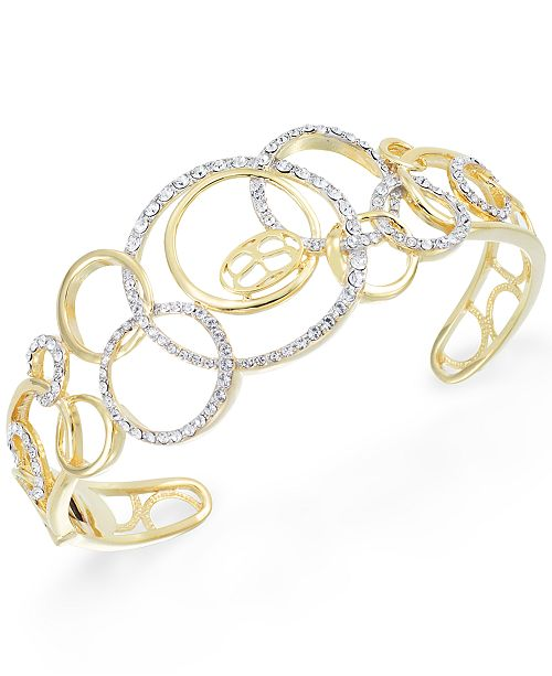 Simone I. Smith Crystal Multi-Circle Cuff Bracelet in 18k Gold over Sterling Silver