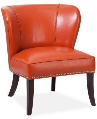 Charming Janie Faux Leather Accent Chair, Quick Ship