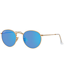 Ray-Ban Polarized Sunglasses, RB3447 50 Round Metal