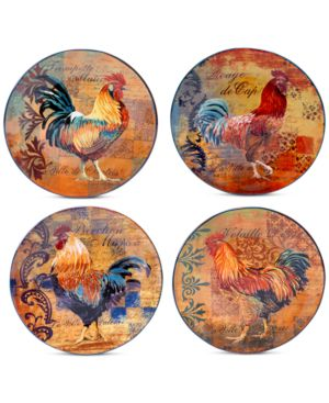 Certified International Rustic Rooster Set of 4 Dinner Plates 1773098