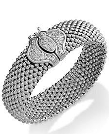 Diamond Textured Bracelet in Sterling Silver (1/2 ct. t.w.)