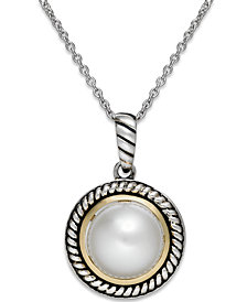 Cultured Freshwater Pearl Rope Pendant Necklace in Sterling Silver and 14k Gold (10mm)
