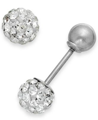 Children's Reversible Crystal Ball Stud Earrings in 14k White Gold