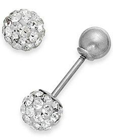 Children's Reversible Crystal Ball Stud Earrings in 14k White Gold
