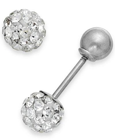Children S Reversible Crystal Ball Stud Earrings In 14k White Gold