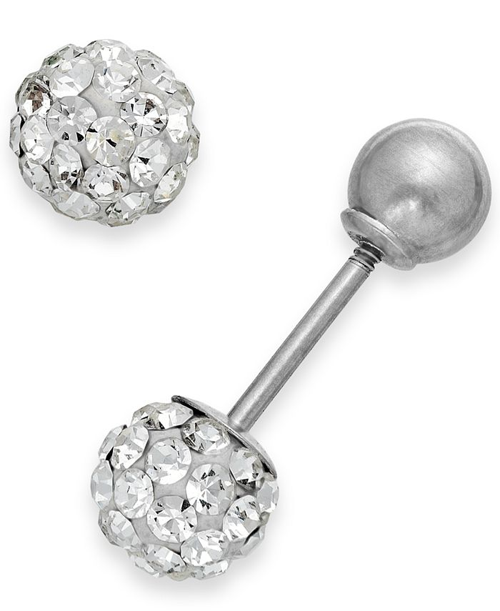 Macy's - Reversible Crystal Ball Stud Earrings in 14k White Gold