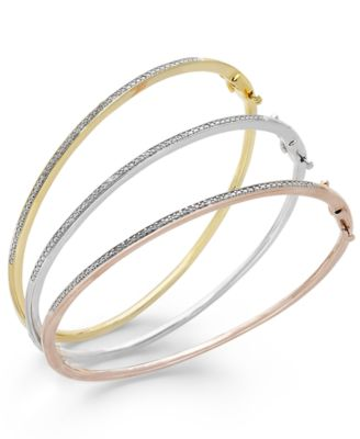 Diamond Bangle Bracelet Trio in 14k Gold and 14k Rose Gold over