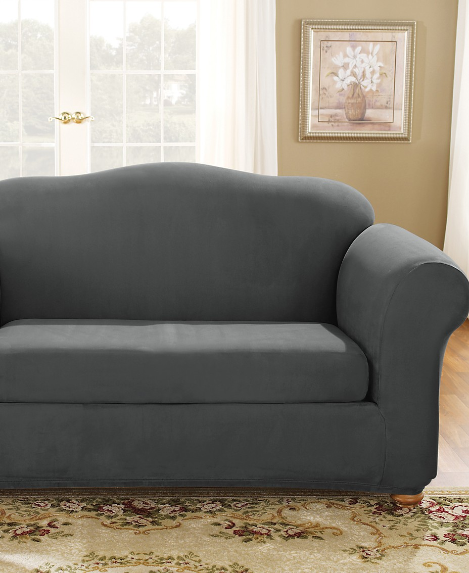 Terrific Sure Fit Stretch Suede Box Cushion Loveseat Slipcover Short Links Chair Design For Home Short Linksinfo