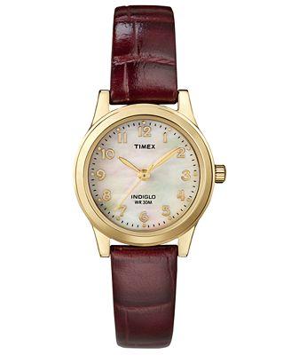 Timex Women's Burgundy Croc-Embossed Leather Strap Watch 25mm T21693UM