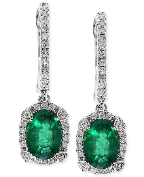 EFFY Collection Brasilica by EFFY Emerald (1-1/2 ct. t.w.) and Diamond (1/4 ct. t.w.) Earrings in 14k White Gold, Created for Macy's