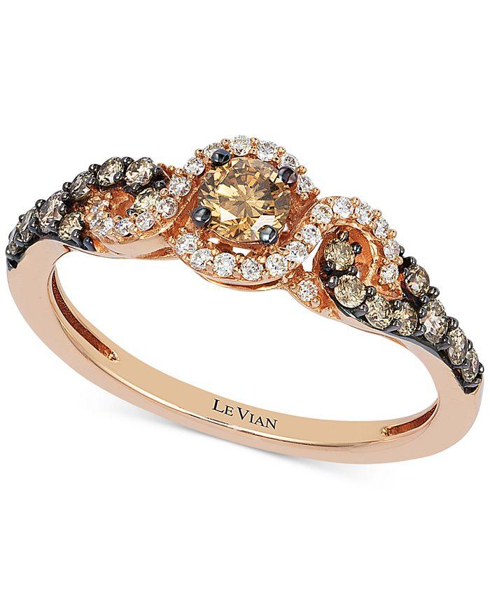 Le Vian - Diamond Three-Stone Ring in 14k Rose Gold (1/2 ct. t.w.)