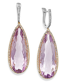Amethyst (30 ct. t.w.) and Diamond (3/4 ct. t.w.) Earrings in 14k Gold