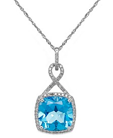 Blue Topaz (6 ct. t.w.) and Diamond (1/5 ct. t.w.) Pendant Necklace in 14k White Gold