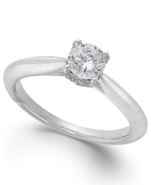 Classic by Marchesa Certified Diamond Solitaire Engagement Ring in 18k White Gold (1/2 ct. t.w.), Created for Macy's