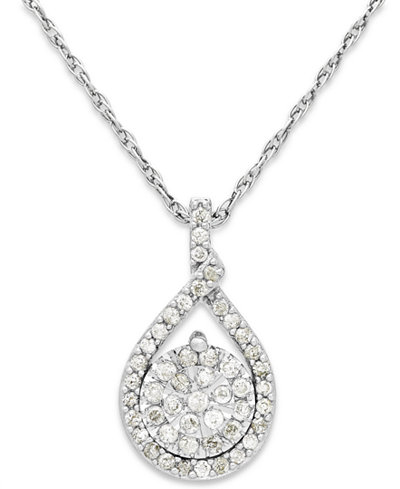 Diamond Cluster Pendant Necklace in Sterling Silver (1/5 ct. t.w.)