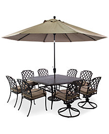 "CLOSEOUT! Grove Hill Outdoor Cast Aluminum 9-Pc. Dining Set (60"" Square Dining Table, 4 Dining Chairs and 4 Swivel Rockers)"