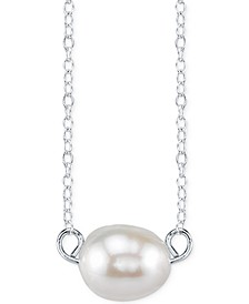 Cultured Freshwater Pearl Pendant Necklace in Sterling Silver (8mm)