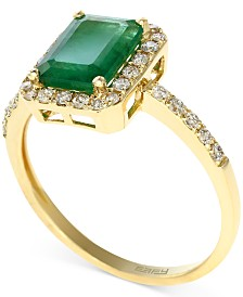 Brasilica by EFFY Emerald (1-3/8 ct. t.w.) and Diamond (1/4 ct. t.w.) Ring in 14k Gold, Created for Macy's