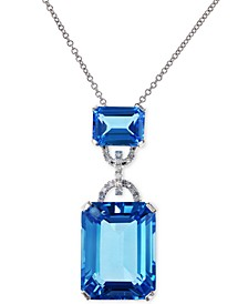 EFFY® Blue Topaz (16-3/4 ct. t.w.) and Diamond Accent Pendant Necklace in 14k White Gold