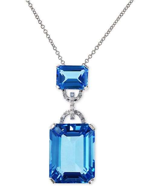 EFFY Collection EFFY® Blue Topaz (16-3/4 ct. t.w.) and Diamond Accent Pendant Necklace in 14k White Gold