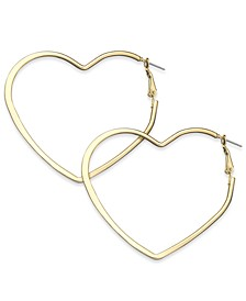 "Extra Large 2.6"" Flat Heart Hoop Earrings, Created for Macy's"
