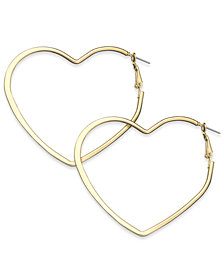 "Thalia Sodi Extra Large 2.6"" Flat Heart Hoop Earrings, Created for Macy's"