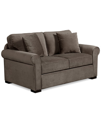 remo ii fabric loveseat with 2 toss pillows furniture