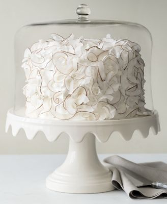 Martha Stewart Collection Serveware Scalloped Cake Stand with Dome : domed cake plates pedestal - pezcame.com
