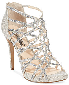 I.N.C. Women's Sharee High Heel Rhinestone Evening Sandals, Created for Macy's
