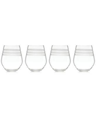 Library Stripe Stemless White Wine Glasses