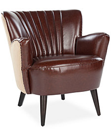 Brandy Faux Leather with Fabric Back & Sides Accent Chair, Quick Ship