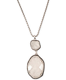 Lucky Brand Silver-Tone Organic Stone Pendant Necklace