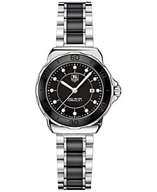 Women's Swiss Formula 1 Diamond (1/10 ct. t.w.) Black Ceramic and Stainless Steel Bracelet Watch 32mm