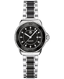 TAG Heuer Women's Swiss Formula 1 Diamond (1/10 ct. t.w.) Black Ceramic and Stainless Steel Bracelet Watch 32mm WAH1314.BA0867