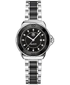 TAG Heuer Women's Swiss Formula 1 Diamond (1/10 ct. t.w.) Black Ceramic and Stainless Steel Bracelet Watch 32mm