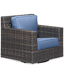 Viewport Wicker Outdoor Swivel Glider with Sunbrella® Cushions, Created for Macy's