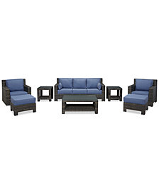 Viewport Outdoor Wicker 8-Pc. Seating Set (1 Sofa, 1 Club Chair, 1 Swivel Glider, 2 Ottomans, 1 Coffee Table and 2 End Tables), Created for Macy's