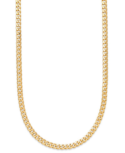 22 Inch Cuban Link Chain Necklace 7mm In 14k Gold