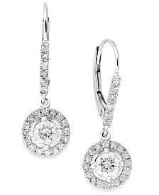 Diamond Dangle Drop Earrings in 14k White Gold (1 ct. t.w.)