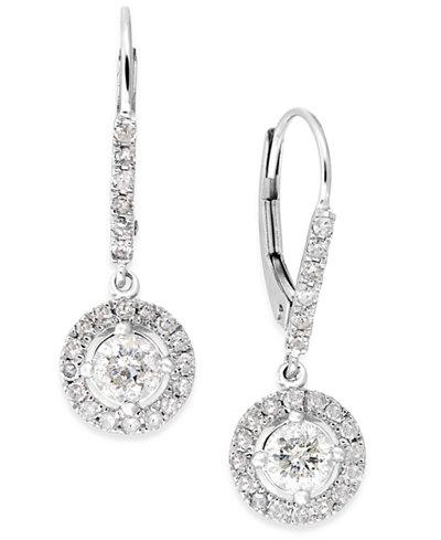 Diamond Dangle Drop Earrings In 14k White Gold 1 Ct T W