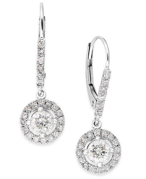 Macy's Diamond Dangle Drop Earrings in 14k White Gold (1 ct. t.w.)
