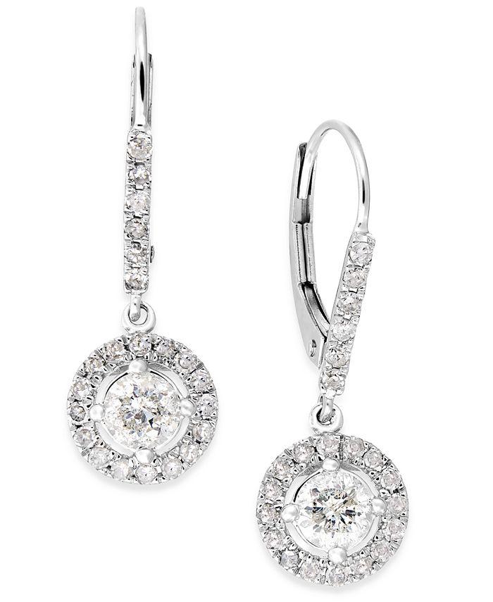 Macy's - Diamond Dangle Drop Earrings in 14k White Gold (1 ct. t.w.)