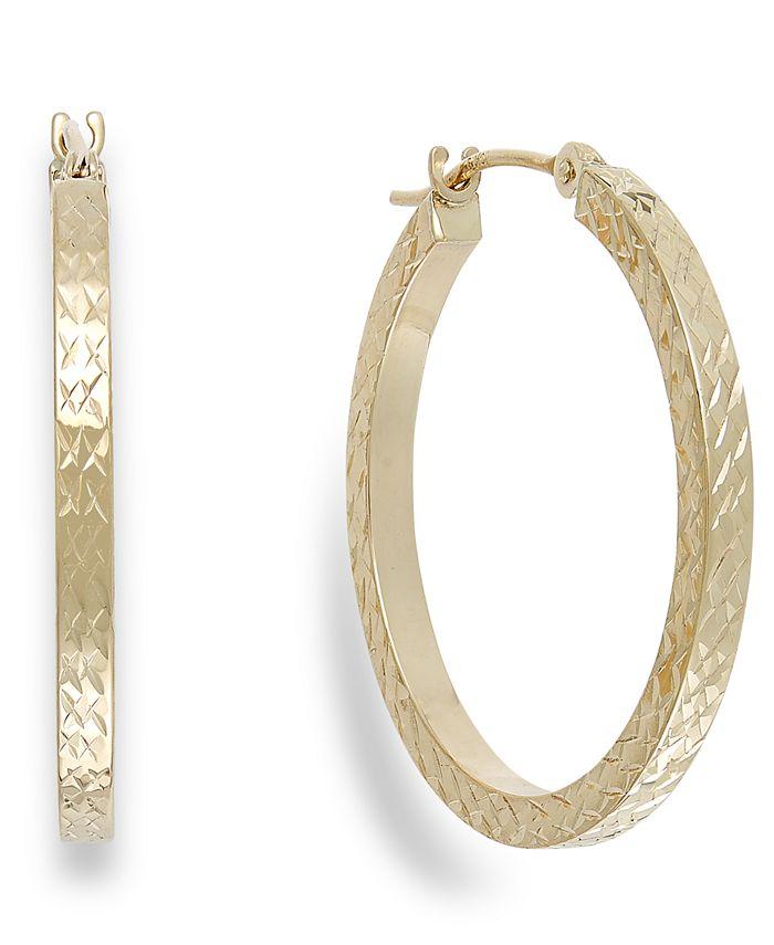 Macy's - Diamond-Cut Hoop Earrings in 10k Gold