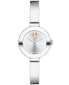 Movado Women's Swiss Bold Stainless Steel Bangle Bracelet Watch 25mm 3600284