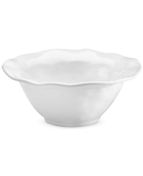 Q Squared Ruffle White Melamine Cereal Bowl, Set of 4