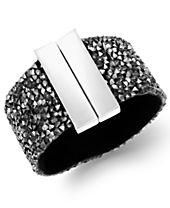 I.N.C. Silver-Tone Hematite Stone Wide Bangle Bracelet
