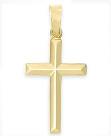 Tube Cross Pendant in 14k Gold
