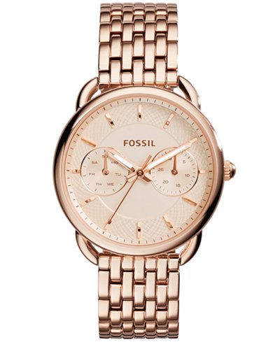 fossil women 39 s tailor rose gold tone stainless steel bracelet watch 35mm es3713 watches. Black Bedroom Furniture Sets. Home Design Ideas